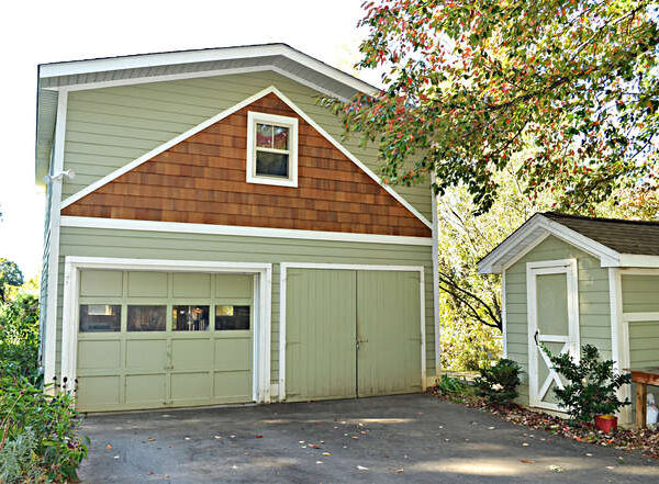 Exterior view of the single garage and upper garage apartment