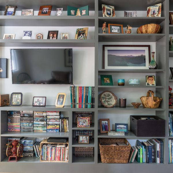 Large bookshelf in family room