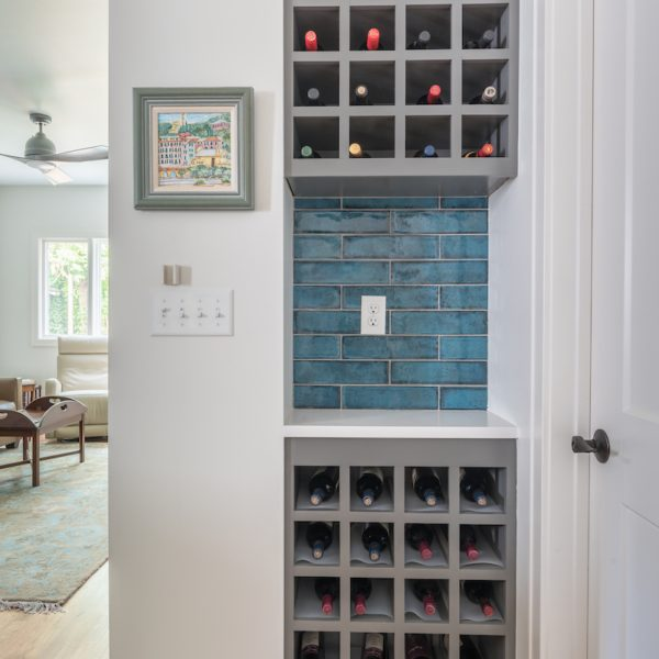 Grey wine rack in modern kitchen