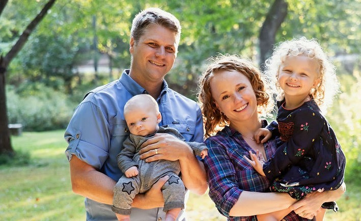 Corey and Anne Black of Mountain Sound Builders and their two children