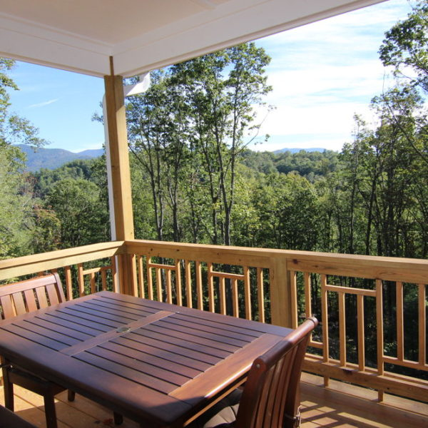 Second-floor wood deck balcony with views of the Blue Ridge Mountains
