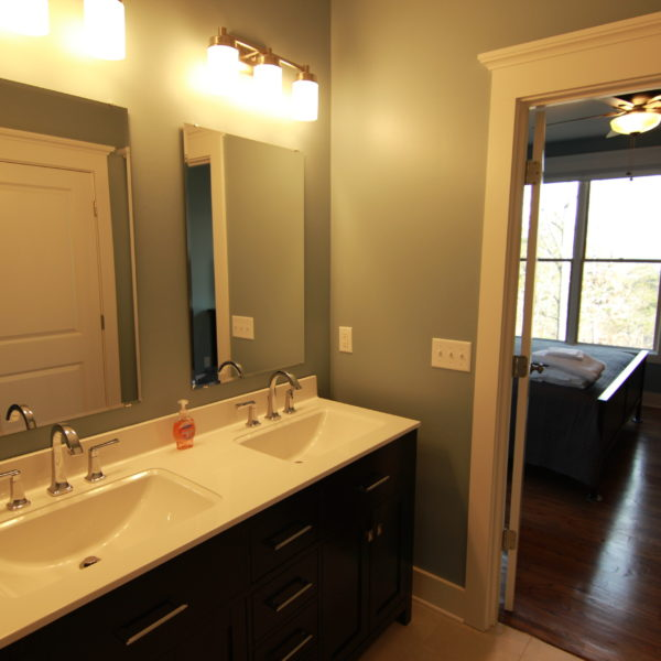 Modern master bathroom with double sinks