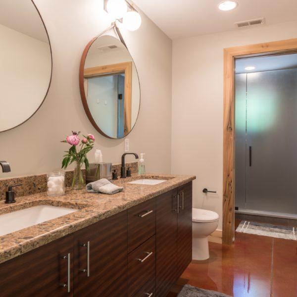 Modern bathroom design with double sinks