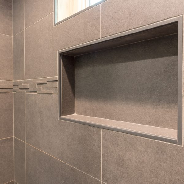 Contemporary bathroom tiling in shower