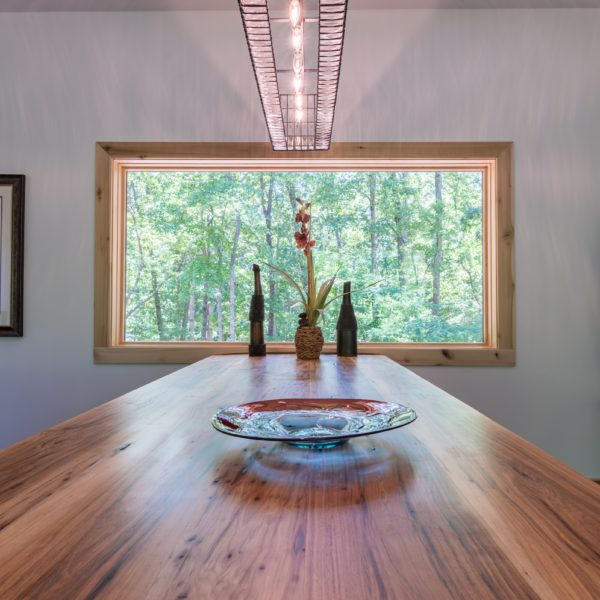 Dining room table made with sustainable wood
