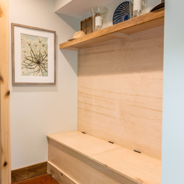 Mudroom with wooden storage drawers